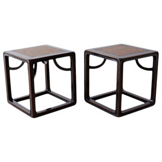 Pair of Chinese Ebonized Stools or Drinks Tables For Sale