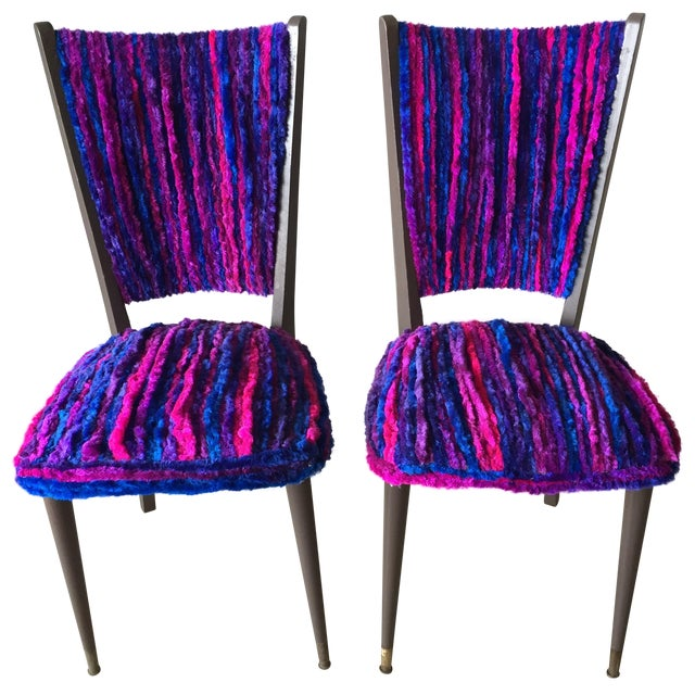 Vintage 1960s Furry Striped Accent Chairs - A Pair - Image 1 of 10