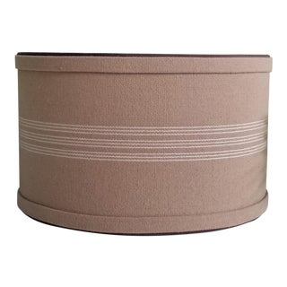 Grain Sack in Brown and White Medium Drum Lampshade For Sale