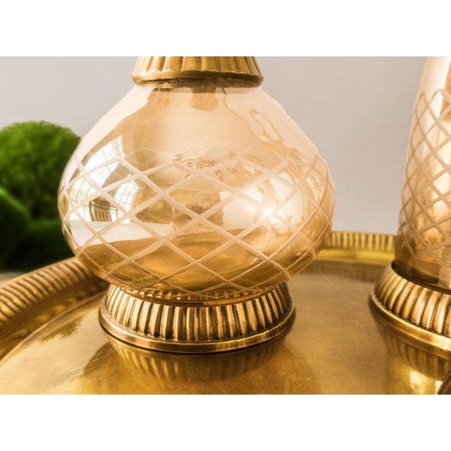Vintage Brass & Iridescent Amber Crystal Decanter Set For Sale - Image 5 of 8