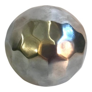 Vintage Mid Century Faceted Silver Stainless Steel Ball For Sale