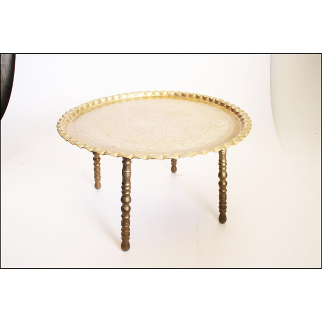 Vintage Moroccan Ornate Brass Charger Coffee Table - Image 3 of 11