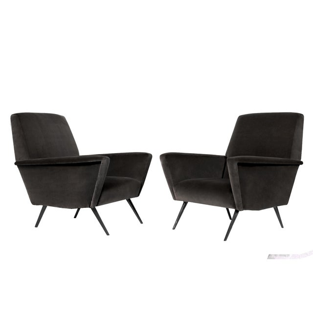 Abstract 1960s Italian Charcoal Mohair Armchairs - a Pair For Sale - Image 3 of 3