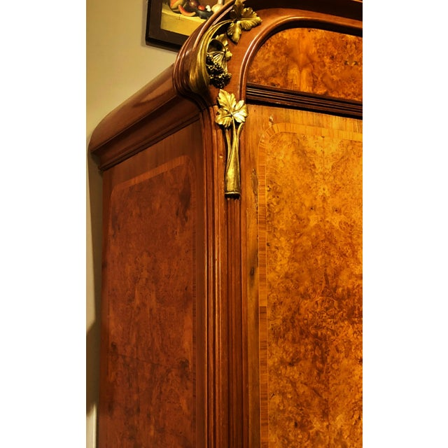 Antique ART NOUVEAU 19th/20th C FRENCH Walnut Satin Inlay BRONZE Mounted MIRROR ARMOIRE For Sale - Image 5 of 10