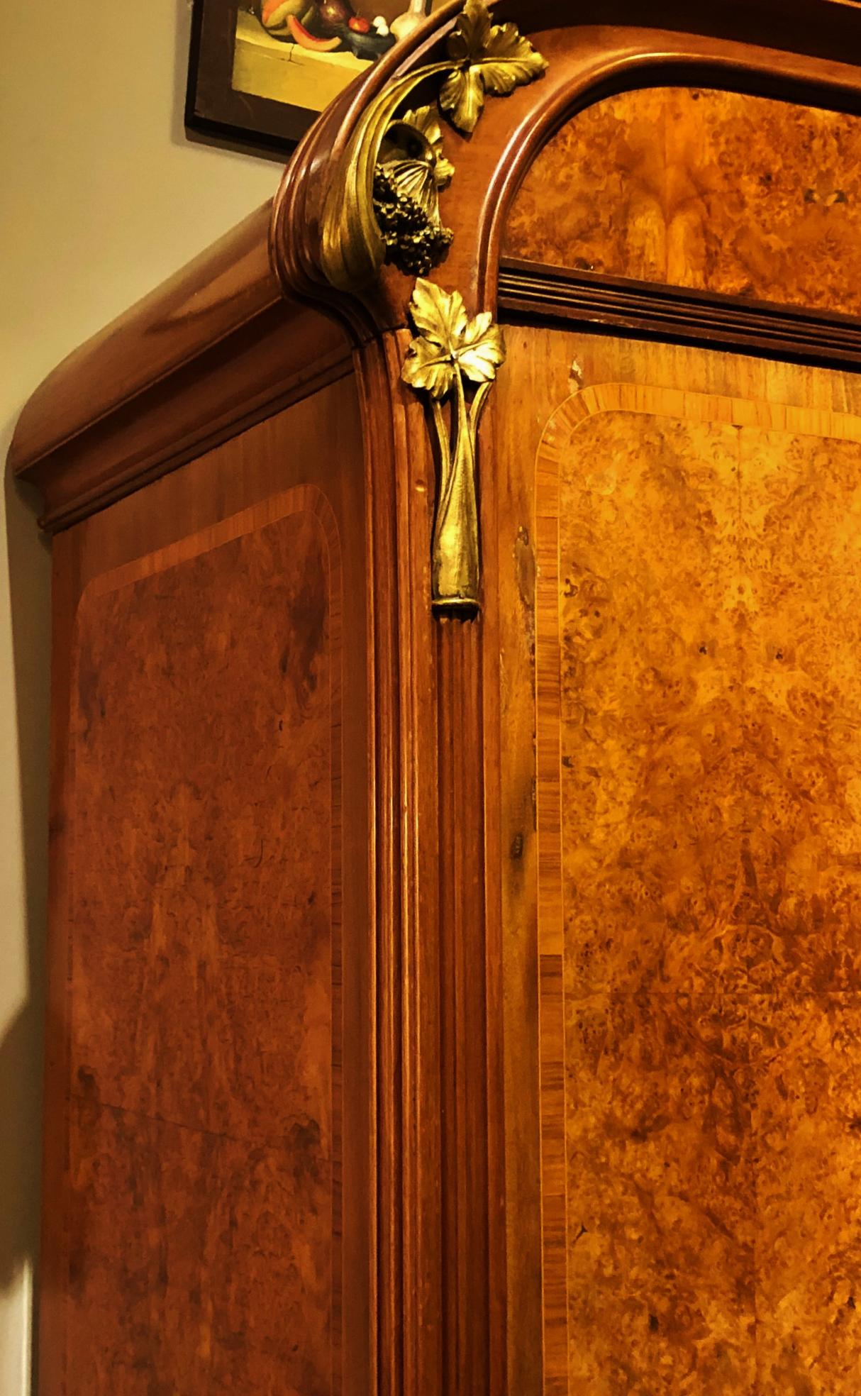 Antique ART NOUVEAU 19th/20th C FRENCH Walnut Satin Inlay BRONZE Mounted  MIRROR ARMOIRE