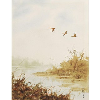 River & Geese Watercolor Painting For Sale
