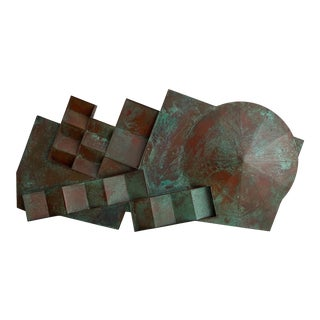Monumental Patinated Bronze Wall Sculpture by Eugene Sturman For Sale