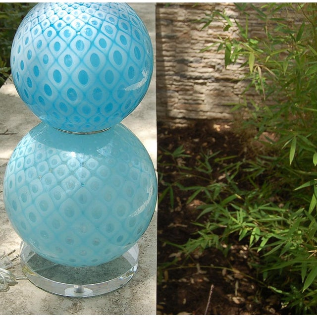 Galliano Ferro Vintage Murano Glass Table Lamps Blue For Sale - Image 9 of 11