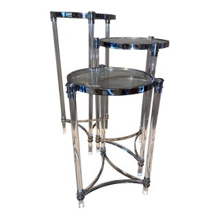 Contemporary Lucite, Chrome and Glass Nesting Tables - Set of 3 For Sale