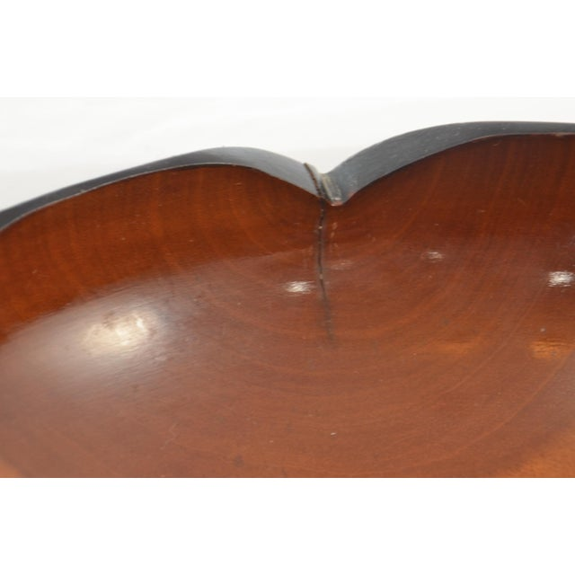 Wood Mid Century Carved Two-Tone Wood Bowl For Sale - Image 7 of 7
