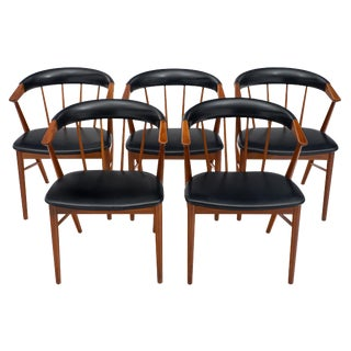 Danish Sibast No. 8 Spindle Back Chairs - Set of 5 For Sale