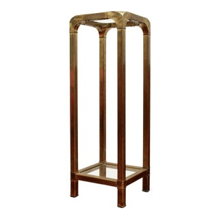 Mastercraft Brass & Glass Pedestal Plant Stand For Sale