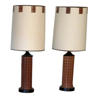 Mid Century Brutalist Lamps - A Pair For Sale
