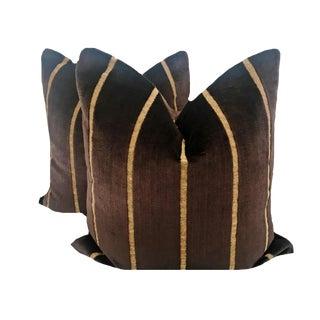 Chocolate Brown Velvet Stripe Pillows - a Pair For Sale
