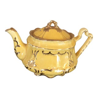 Arthur Wood Antique English Gold and Yellow Tea Pot