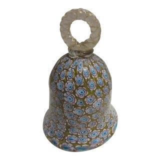 Ferro Murano Venetian Glass Gold Fleck Millefiore Bell For Sale