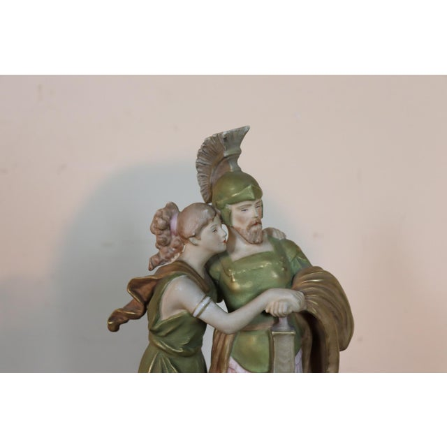 Ceramic 20th Century Porcelain Sculpture Group Neoclassical Couple in Love by Royal Dux For Sale - Image 7 of 10
