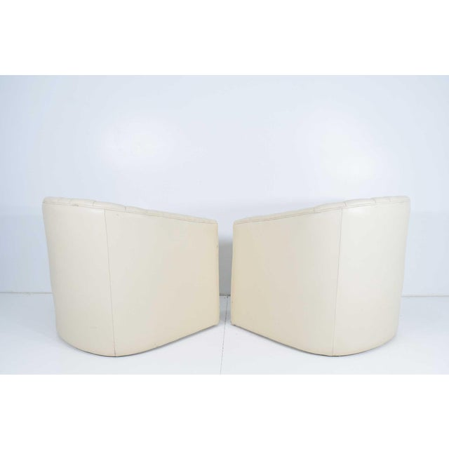 1980s 1980s Channel Tufted Barrel Back Tub Chairs - a Pair For Sale - Image 5 of 8