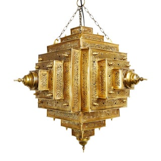 Square Brass Work Lantern Medium For Sale