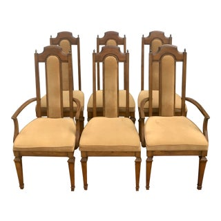 Mid-Century Modern Wooden Cutwork Dining Chairs- Set of 6 For Sale