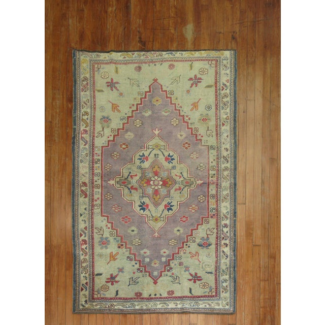 Purple Vintage Turkish Oushak Rug, 4' x 6' For Sale In New York - Image 6 of 6