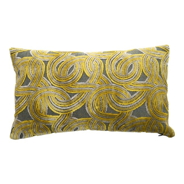 FirmaMenta Italian Damask Geometric Green & Yellow Velvet Lumbar Pillow For Sale