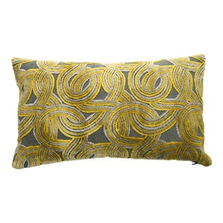 Italian Damask Geometric Green & Yellow Velvet Lumbar Pillow