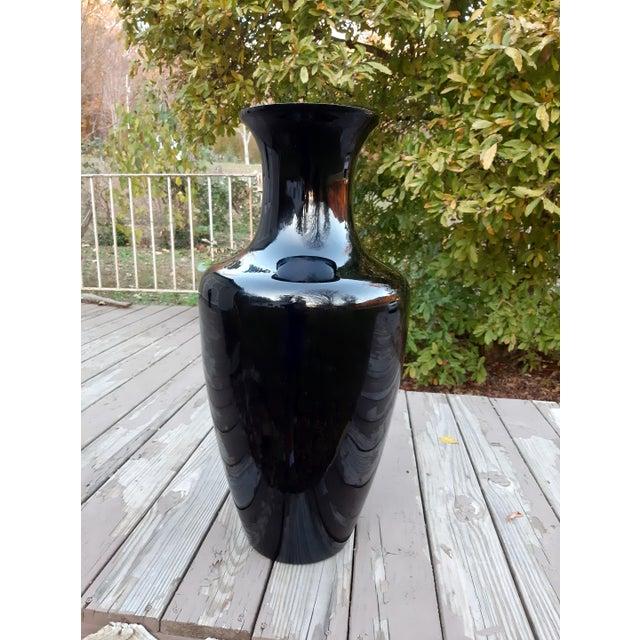 Glass Vintage West Virginia Masterwork Black Pilgrim Art Glass Vase For Sale - Image 7 of 13