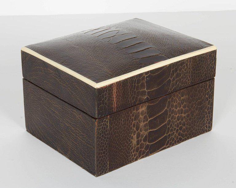 Decorative Boxes Fascinating Superior Exotic Ostrich Leather Decorative Boxes With Bone Inlay Review