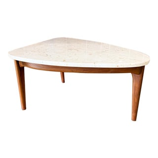 Travertine & Walnut Guitar Pick Shaped Side Table For Sale