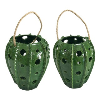 Green Glazed Terra Cotta Candle Lanterns With Rope Handles - A Pair For Sale
