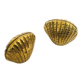 Vintage Brass Clam Shell Place Card Holders - Set of 2 For Sale