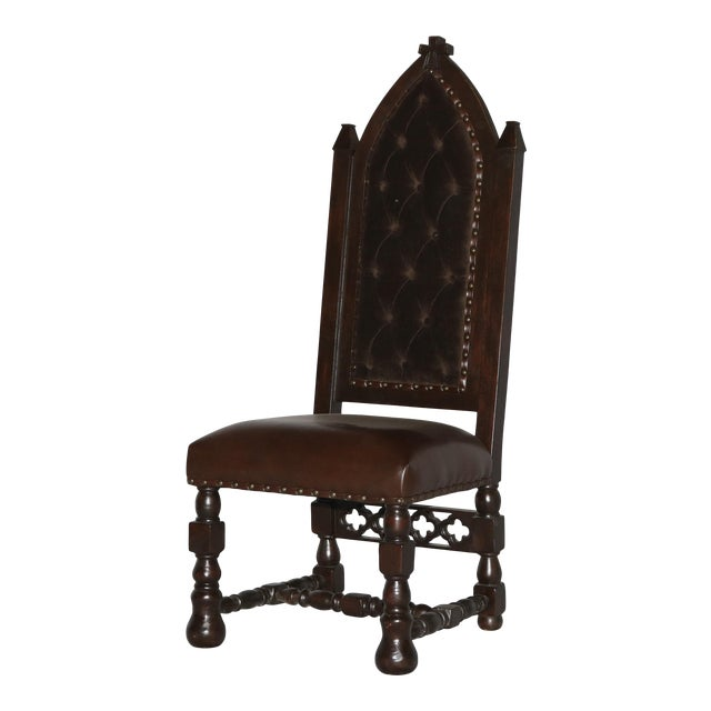 Gothic Cross Tufted Dining Chair For Sale