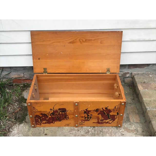 Metal 1950s Vintage Cowboys and Indians Wooden Toy Chest For Sale - Image 7 of 13