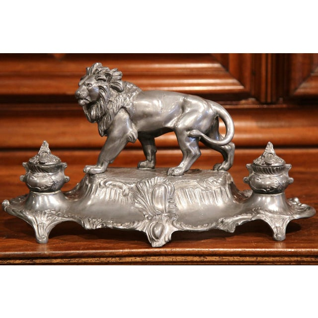 Large 19th Century French Pewter Inkwell with Lion Signed A. Bossu For Sale - Image 5 of 8