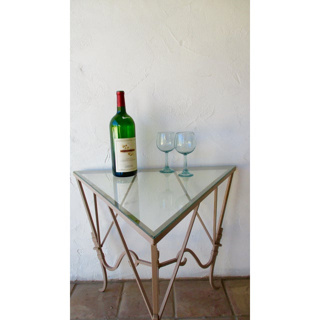 French Country Vintage Mediterranean Wrought Iron and Glass Tall OutDoor Table Bar For Sale - Image 3 of 13