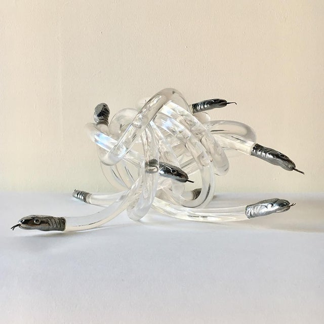 Alessandro Albrizzi Lucite Snake Table Sculpture Attributed to Alessandro Albrizzi For Sale - Image 4 of 4