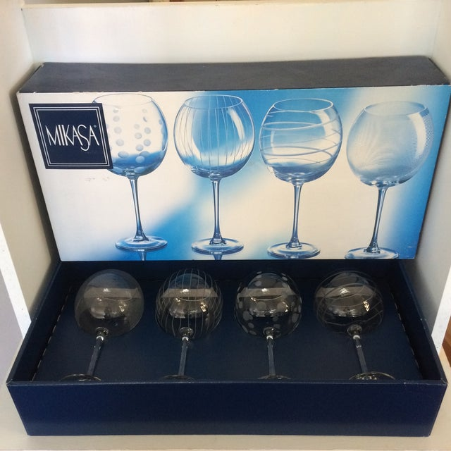 Vintage Mikasa Etched Crystal Balloon Wine Glasses - Set of Four in Original Box Made in France For Sale - Image 13 of 13
