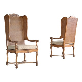 Pair of 1920's Hollywood Regency Cane Wingback Chairs For Sale
