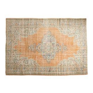 "Vintage Distressed Oushak Carpet - 6'4"" X 9'2"" For Sale"