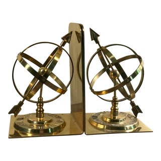 1980s Traditional Brass Armillary Sphere Bookends - a Pair