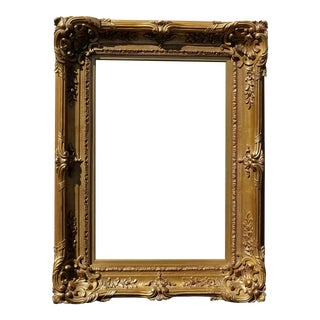 """Large 48"""" Tall Vintage French Rococo Gold Ornate Wall Mantle Picture Frame For Sale"""