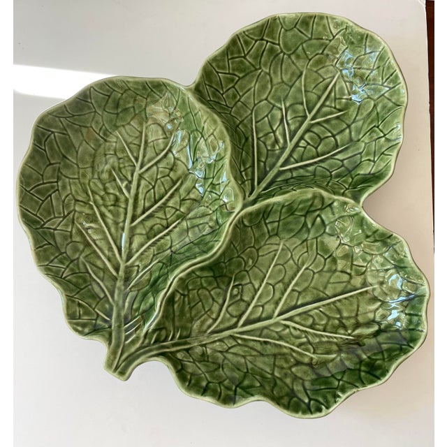 Green Cabbage Leaf 3 Part Serving Platter Made in Portugal For Sale - Image 11 of 11