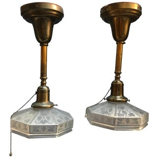 Industrial Etched Octagonal Glass Pendant Lights on Brass Poles - a Pair For Sale