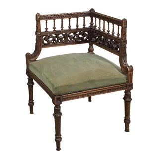 19th Century Neoclassical Corner Chair ~ Armbench Ca. 1870 For Sale