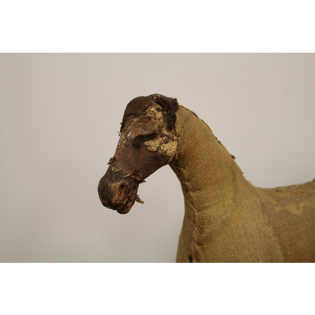 French Burlap Wrapped Horse with Carved Wooden Head and Legs For Sale - Image 3 of 8