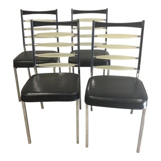 Vintage Mid Century Daystrom Lucite Chrome and Black Ladder Back Chairs- Set of 4 For Sale
