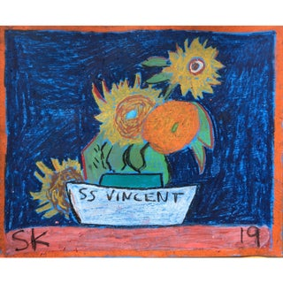 'Ss Vincent' Oil Pastel Drawing by Sean Kratzert For Sale