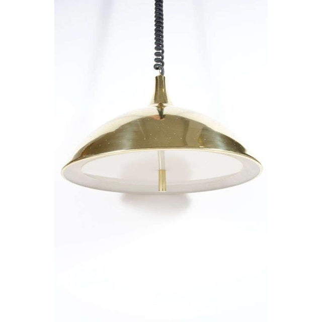 Litecraft Finlandia Brass Counter-Weight Pendant after Paavo Tynell for Litecraft Mfg Corp For Sale - Image 4 of 9