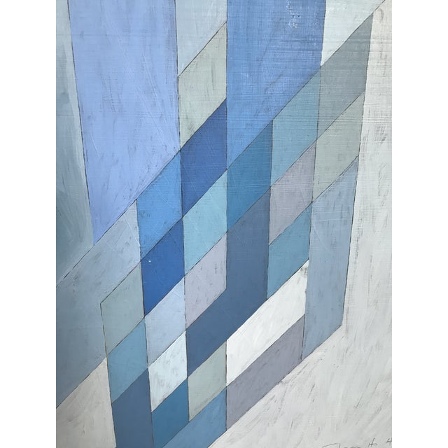Abstract 1970s Vintage Abstract Blue Geometric Painting For Sale - Image 3 of 10